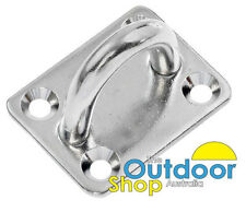 NEW Rectangle Pad Eye Stainless Steel 8mm fitting Shade Sail Boat Wall plates