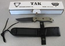 NEW Ontario TAK-1 8602 Canvas Micarta Knife & Sheath US Made - 1095 Carbon Steel