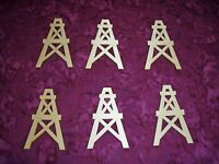 Oil Derrick Shape Cutout Unfinished Wood Well 6pcs - Artistic Craft Supply
