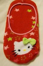Hello Kitty Slippers Socks Shoe Size 7.5-3.5 Red Girls