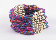 "New Colorful 1.5"" Wide Multi Strand Glass Bead Bracelet #B1202"