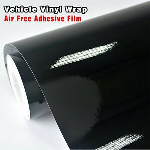 Gloss Shiny Black Air Release Vinyl Wrapping Film Sheet Auto Protect 1.51Mx90CM