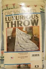 """New Crown Crafts Luxurious Cotton Throw Blanket Afghan - Swan Design - 50"""" x 60"""""""