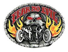 Biker Belt Buckle Motorcycle Bike Skull & Flames Fear No Evil Authentic Siskiyou