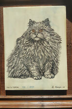 Eugene Andreyev - Marble Etching Of A Cat Signed, Numbered, Framed From 1979