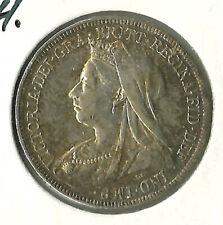 Great Britain 1897 1 Shilling AU  Victoria .925 silver coin KM 780