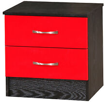 Marina | Red Gloss & Ash Black | 2 Drawer Bedside Cabinet | Side Lamp Table