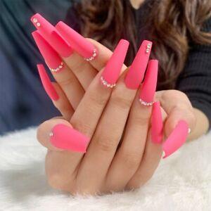 24Pcs Pink False Nails Long Full Rhinestones Artificial Fake Press On Nail Decor