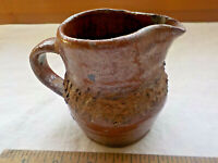 "Antique  Brown Glazed Folk Art Pottery 4"" Primitive Creamer Pitcher"
