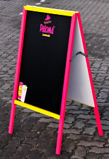 Paloma Lemonade, Echtholz Kreidetafel, Kundenstopper, Schreibtafel, Pink-Gelb
