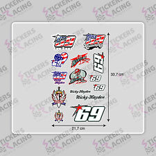 KIT HOJA X14 NICKY HAYDEN 69 ALWAYS PEGATINA  MOTO CASCO MOTOGP STICKERS ADESIVI