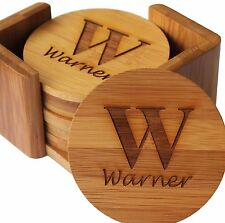 Set of 6 Personalized Coasters - Engraved Bamboo Coasters - Round