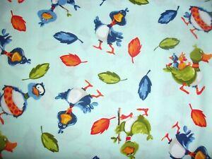 World of Suzybee Bill & Bob Ducks Aqua Crafting Quilting Cotton Fabric 1/2 YARD