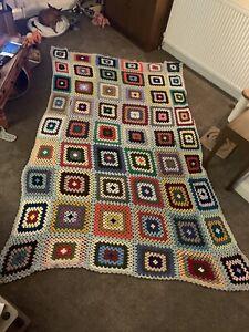 Very Large Vintage Handmade Granny Squares Crochet Blanket Throw 8ftx5ft