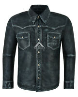 Men's Leather Shirt Navy Vintage 100% Napa Adjustable Collar Casual Style M114