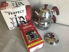 Traditional Turkish Tea Pot Stainless Steel & 500g Turkish Black Tea- UK Seller