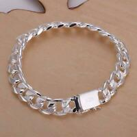 Fashion Solid 925 Silver 10MM Men Women Chain Bracelet Jewelry hot Wedding