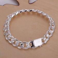 Fashion Solid 925 Silver 10MM Men Women Chain Bracelet Jewelry hot Wedding