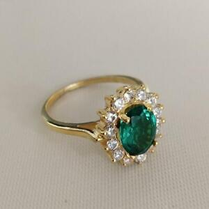 2Ct Oval Cut Green Emerald Halo Women's Engagement Ring 14K Yellow Gold Finish