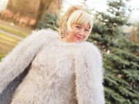 Grey Cape dress knitted DECOFUR mohair made to order extravagant handmade