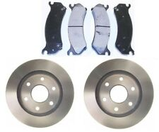 COMPLETE FRONT KIT PAIR OF 2 DISC ROTORS AND 4 PREMIUM METALLIC BRAKE PADS SET