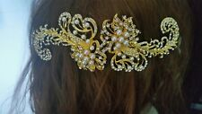 Handmade gold rhinestone and pearl bridal headpiece / fascinator