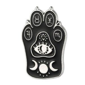 """Null Karat Pin """"Occult Cat"""" Katze Anstecknadel Brosche Gothic Gothik Steampunk"""