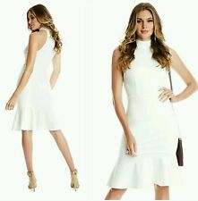NWT GUESS BY MARCIANO WHITE Ponte Knit Morgan Mock Flounce Dress SIZE S