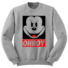 Evil Mickey Mouse OHBOY Grey Sweater OBEY Disney Jumper Hoodie Minnie Character