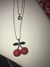 IBetsey Johnson Double Necklace Retro Red Cherries  Silver Crystals