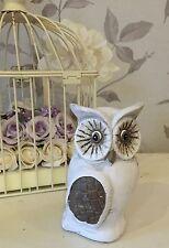 White & Brown Shabby Chic Home Decor Ceramic Pottery Owl Ornament - Small MZ