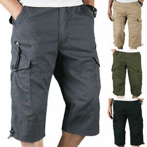 Herren Bermuda Kampfhose Cargohose Combat Shorts Capri 3/4 Sportshosen Kurzhosen