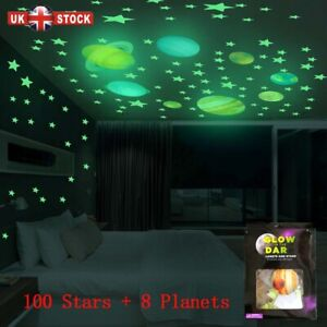 Glow In The Dark Luminous Stars and Planet Wall Stickers Ceiling Wall Bedroom