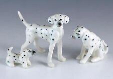 Vintage Miniature Set 3 Bone China Dalmatian Dog Figurines Made In Japan Matte