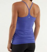 Lululemon Power Y Tank Luon Light Striped Pigment Blue Heathered Blue Size 10