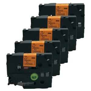 5 PK Black on Orange TZB41 TZ TZe-B41 Label Tape for Brother P-Touch D600 3/4''