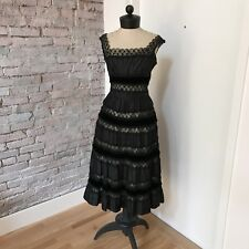 Vintage Cocktail Dress 1930's Black Lace Velvet Sleeveless Full Skirt Conmar 4