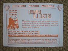 UOMINI ILLUSTRI 1967  EDIZIONI PANINI CARTOLINA PROMOZIONALE PER ALBUM GRATIS