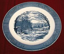"1954 Royal China Currier & Ives Blue 12 1/4"" Round Platter Chop Plate Get Ice VG"