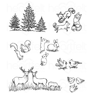 LANDSCAPE CRITTERS Cling Rubber Stamp Set HEARTFELT CREATIONS HCPC-3768 New
