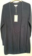 Monsoon Lynne Long-line Cardigan Denim Blue Size L  Bnwt Open Front