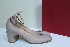 New sz 9 / 39.5 Valentino Nude Beige Leather Tan-Go Tango Ankle Strap Pump Shoes