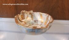 STANGL Pottery ☆ 22K Gold Paint ☆ Antique Gold & Turquoise Apple Dish #3785