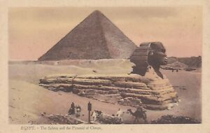 Egypt. The Sphinx & Pyramid of Cheops.  Old postcard in fair cond. Unused