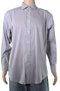 Lauren by Ralph Lauren Mens Dress Shirt Blue Size 16 Slim Stretch $79 180