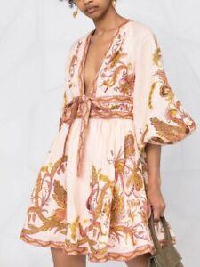 AUTH $750 ZIMMERMANN CASSIA PLUNGE BOW MINI DRESS