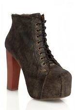 Jeffrey Campbell Lita Boots fur gold black brown size 8 goth punk