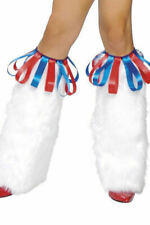Roma LW4142 Red / Blue Ribbon Loop Top Trim Cheerleader Fur Leg Warmer NEW
