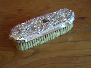 Vintage Style Silver Plated Clothes Brush Embossed /Dressing Table Grooming