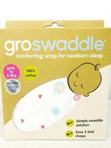 GROSwaddle Baby Infant Birth to 6.5Kg Cotton 3 Fold White Swaddle Wrap Blanket